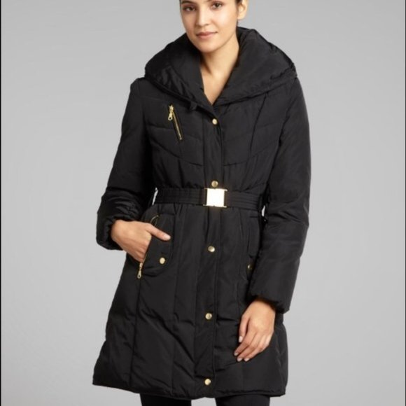 Cole Haan Black Quilted Down Coat